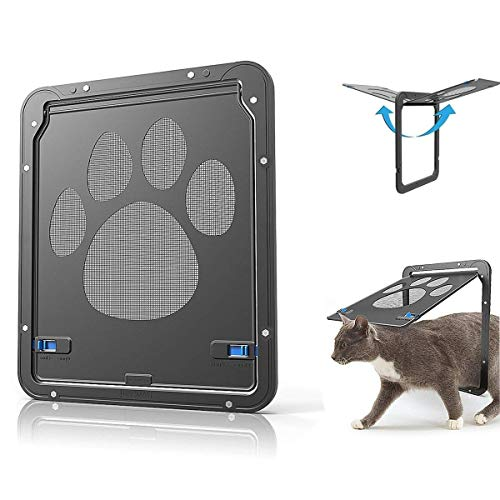 OWNPETS Pet Screen Door, Magnetic Flap Screen Automatic Lockable Black Door for Small Dog and Cat Gate 11.31