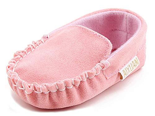 (Anrenity Baby Loafer Infant Toddler Boys Girls Soft Slip On Gommino Classic Boat Shoes DDX-001PK Pink 0-6 Months)