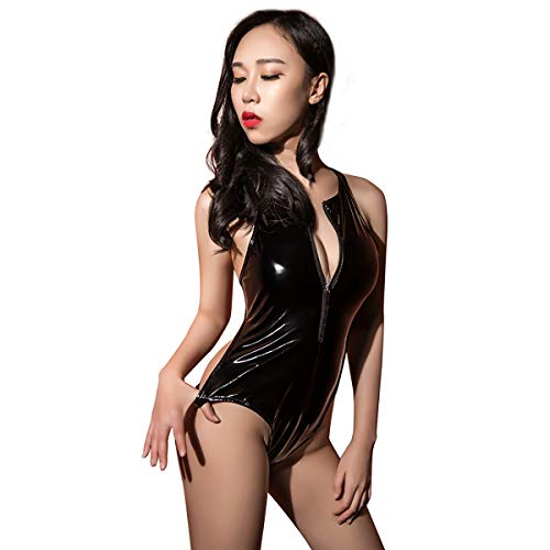 Women One Piece Sexy Leather Jumpsuit Halter Backless Zip Front Leotard Tongs Clubwear Lingerie Bodysuit Black