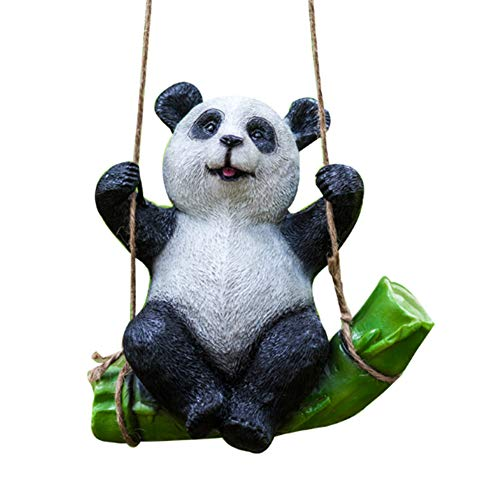 (Fivtyily Cute Cartoon Garden Statue Environmentally Friendly Resin Outdoor Statues for Patio Yard Lawn House (Panda) )