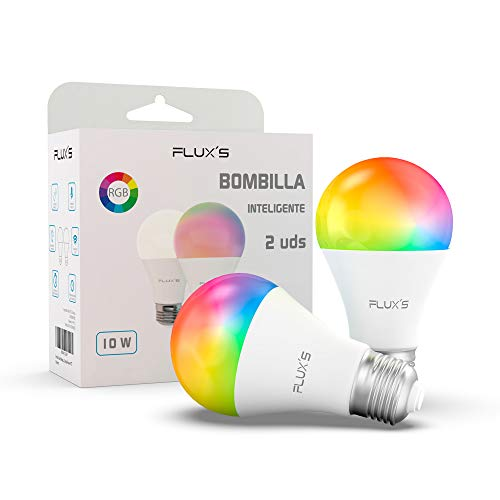 Bombilla Led Inteligente Wifi FLUX'S [2 UDS] 10W, E27, Regulable, Luz Cálida, RGB Multicolor, Compatible con Alexa, Echo…
