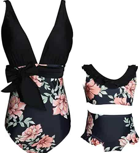 00aa623c67706 2Pcs Mommy and Me Matching Family Swimsuit Ruffle Women Swimwear Kids  Children Toddler Bikini Bathing Suit