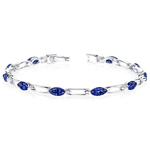 Created Sapphire Bracelet Sterling Silver Marquise Cut