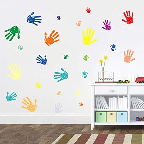 Bamsod Colorful Hand Prints Wall Sticker,Nurse Art Baby Girls Kids Bedroom Decor Best Decorative Gift