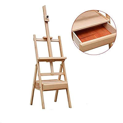 Amhuui Liftable Red Enamel Wooden Sketching Easel Art Painting Easel Display Exhibition Stand with Drawer