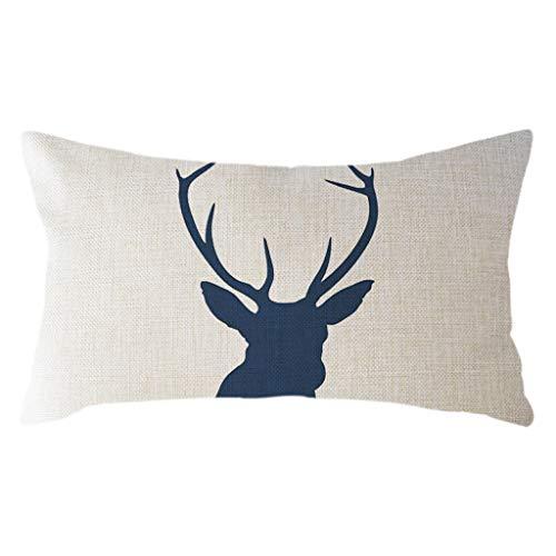 KESEELY Classic Minimalist Animal Pillow Case Linen 30x50cm Elk Print Throw Cushion Cover Home Decor