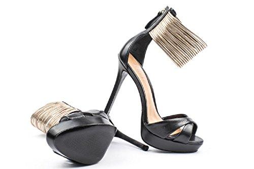 sandali alti neri con plateau