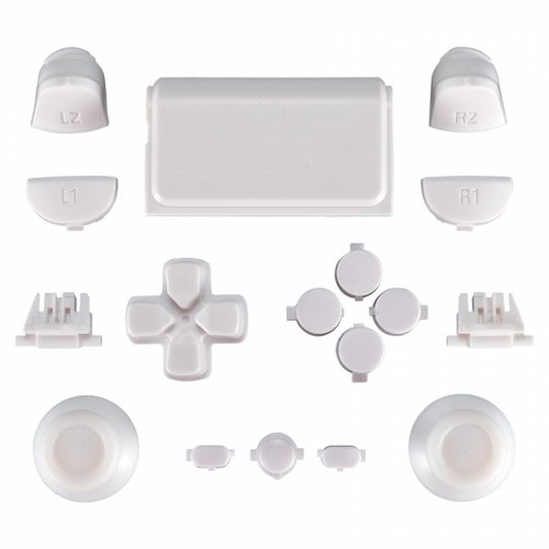 MODFREAKZ™ PS4 New Version JDM-030 Thumbsticks Dpad R1L1 R2L2 Share Option Home Buttons Touch Pad Solid White For 2nd Gen Controller