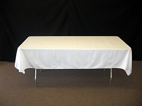 "ONLINE WEDDING SUPPLY Rectangle Polyester Table Cloth Banquet Venue Decoration White 10 Pack 60"" X 126"""
