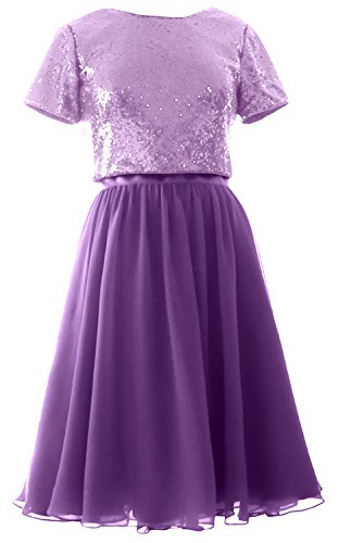 Dress Two Bridesmaid Purple Cap Lavender Gown Sequin Formal Piece Sleeves Short Chiffon MACloth wpY6x4qn4