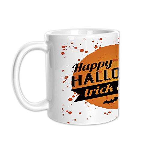 Halloween Stylish White Printed Mug,Happy Halloween Trick or Treat Watercolor Stains Drops Pumpkin Face Bats for Living Room Bedroom,3.1