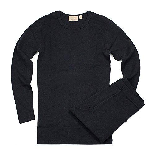 Sheep Shop Wool - Sheep Run Merino Wool Men's Thermal Underwear Long Sleeve Baselayer Set (L, Black)