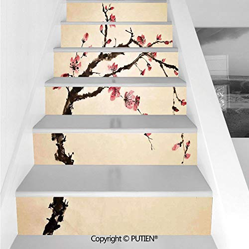 PUTIEN Upscale Stair Stickers Wall Stickers,6 PCS Self-Adhesive [ Japanese,Traditional Chinese Paint of - Fig Traditional
