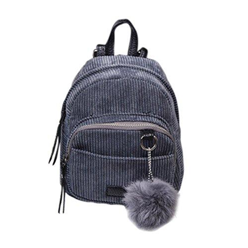 Espeedy Las mujeres simples de la manera Backpacks la lona empluman el bolso de hombro de la bola Las muchachas ocasionales retras de las señoras viajan haciendo compras las mini bolsos gris