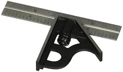 Starrett 11H-4-4R Combination Square with Cast Iron Head and Black Wrinkle Finish