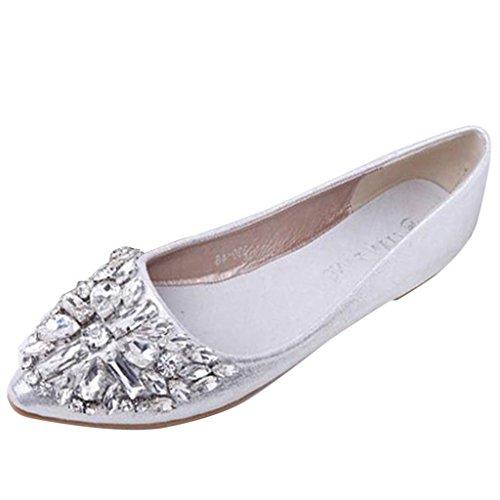 Binying Women's Diamond Shallow Mouth Flat Pumps Silver LxyPe5m
