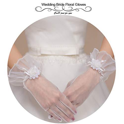 CanB Women's Wedding Flower Gloves Bridal White Short