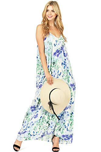 LOVE STITCH Women's Light Linen Simple Floral Maxi Dress (M/L, Violet)