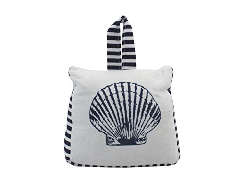 Hampton Nautical ZH-67620-C Blue & White Canvas Sandbag Seashell Door Stop 6
