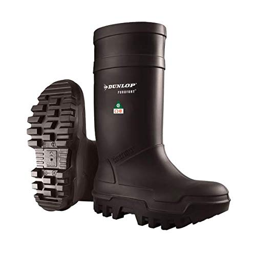 Dunlop E65203306 Purofort Thermo+ Full Safety Omega/EH Cold Protection Boot, Premium Insole, -58°F Cold Insulation, Steel Toe Cap, Black, Size 9 by Dunlop Protective Footwear