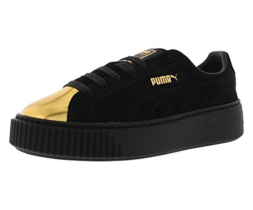 PUMA Women's Suede Platform Fashion Sneaker, Gold-Puma Black-Puma, 9.5 M US 36222202