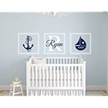 Custom Nautical Sail Boat Boy Name Wall Decal - Nautical Decor - Nursery Wall Decals - Whale Wall Decal - Vinyl Baby Nursery Decor by Lovely Decals World