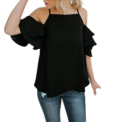 large courtes femmes blouse ❤️Été Tefamore Noir t manches l'épaule shirt des au à de qU1Cwt8