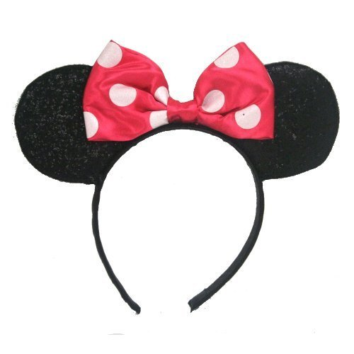 UPD Minnie Mouse Sparkled Ears, with Assorted Red or Pink Bow -