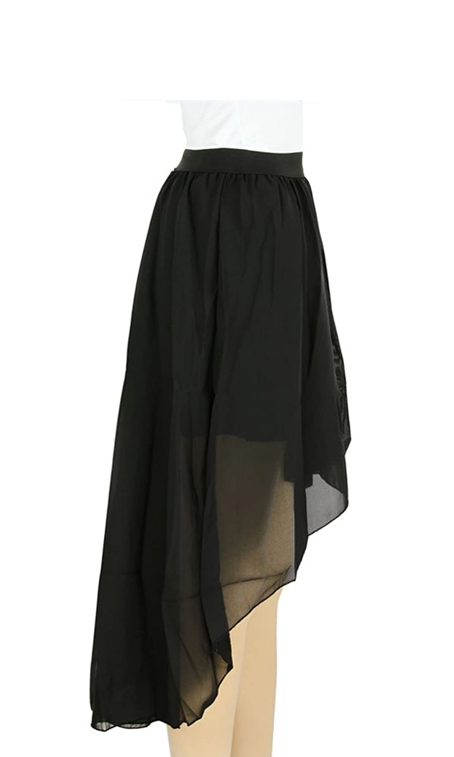 Women Double Layer Irregular High Low Skirt Elastic Waistband Chiffon Dress