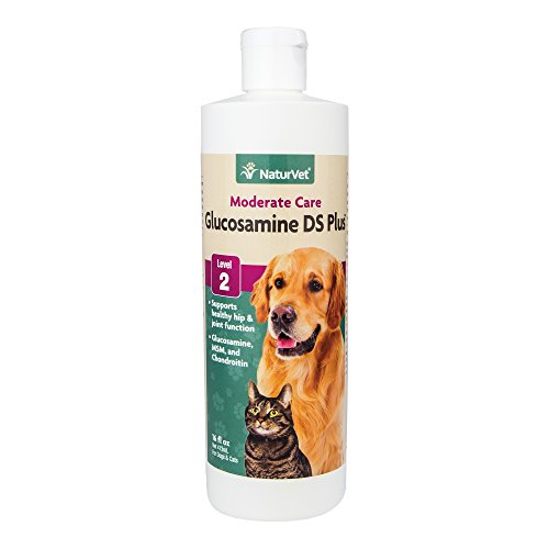 NaturVet Glucosamine DS Plus Level 2 Moderate Joint Care for Dogs and Cats, 16 oz Liquid, Made in USA