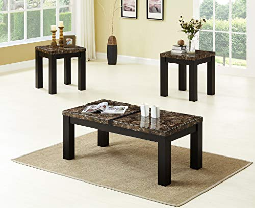 (GTU Furniture Occassional Modern, Eclectic, Glam, 3-Piece Square Accent Table Set with 1 Coffee Table, and 2 End Tables in a Rich Dark Espresso Brown Wood Finish Topped with Faux Marble, Mesitas para )