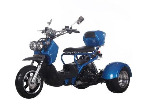 Icebear 50cc Trike Motorcycle 3 Wheel Trike Scooters Mopeds Metallic Blue