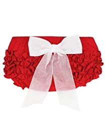 RuffleButts Infant / Toddler Girls Ruffled Bloomer w/ Bow - Red w/White Bow - 6-12m