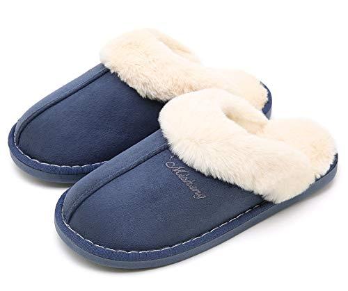Indoor Dark Slippers Slipper Clog Fluffy House Oshow Soft Blue Slipper Slip For Womens On Winter Outdoor WzPY6qgTw