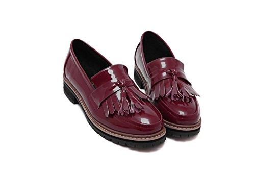 LvYuan Zapatos de mujer / Preppy estilo / borlas Dunk / bajo tacón grueso / comodidad / punta redonda / dedo del pie cerrado / Oxfords / al aire libre / casual Wine Red