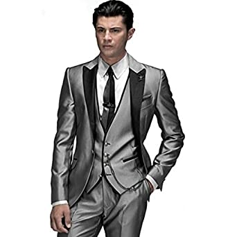 a8e88c7c61c MYS Men s Custom Made Groomsman Shining Tuxedo Suit Pants Vest Tie Set  Silver Tailored