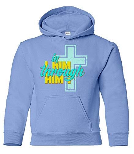 - in Him Through Jesus Christ Youth Hoodie Sweatshirt (Carolina,YS)