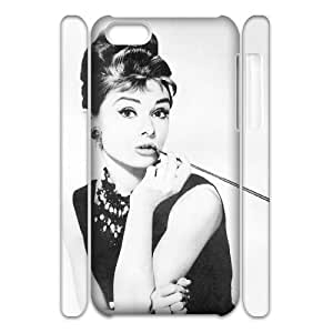 Qxhu Audrey Hepburn patterns Protective Hard Back Fits Cover Case for Iphone 5C 3D case