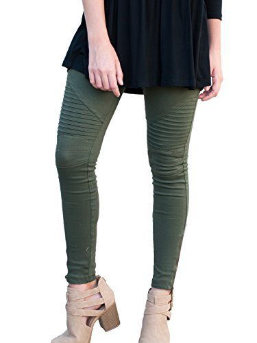 Tickled Teal Women's Moto Jegging (XL, Olive)