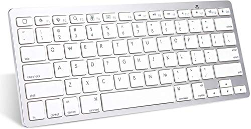 Anker Ultra Compact Profile Wireless Bluetooth Keyboard for iOS, Android, Windows and Mac with Rechargeable Battery and Aluminum-Effect Finish (White)