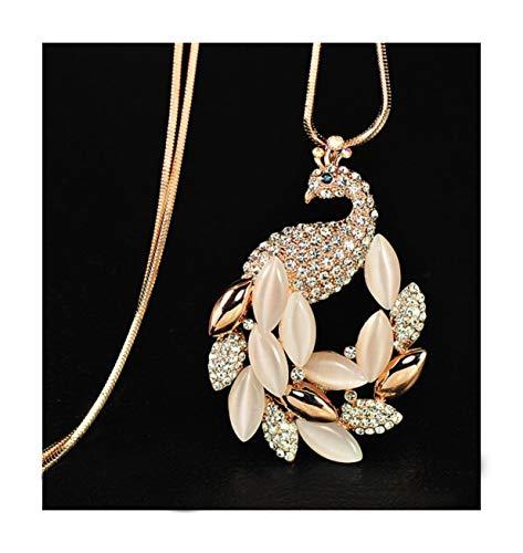 Nataliya Gold Crystal Peacock Pendant Statement ()