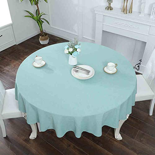 DAPENG Round Tablecloth, Solid Color Cotton and Linen Blended Fabric Anti-Wrinkle Suitable for Kitchen Coffee Table Restaurant Decoration (Color : Blue, Size : Diameter 51.3