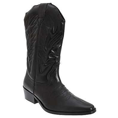 Gringos Men's KANSAS Western Cowboy Boots 11 UK Black