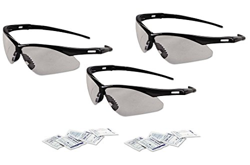 - Jackson 3000355 KC 25679 Nemesis Safety Glasses Black Frame Clear Lens Anti Fog, 3 Pairs - Bundle Includes Sight Savers Premoistened Lens Cleaning Tissues