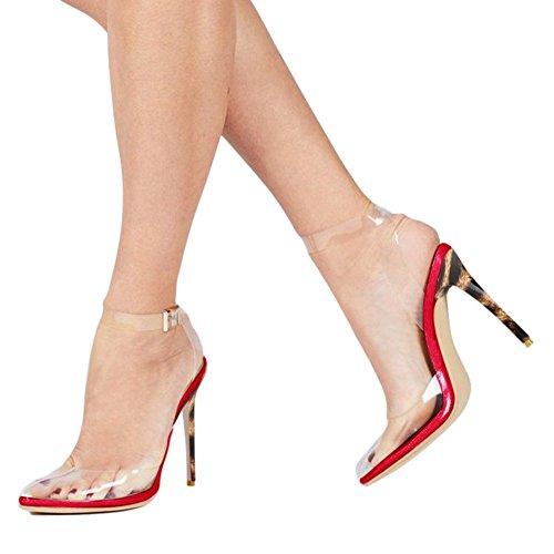 Cdvintu Women Pointed Toe Transparent High Heels Lucite Clear Dress Sandals Ankle Strappy Bukle Stilettos (9.5, Red Leopard)