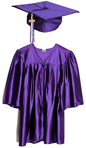 Budget Graduation Purple Shiny Preschool Cap and Gown Graduation Set - Small, Includes Tassel and (Kindergarten Graduation Tassels)