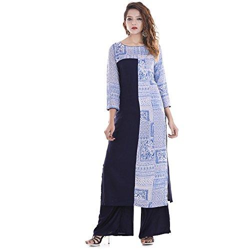 Chichi Indian Women Kurta Kurti 3/4 Sleeve Large Size Printed Straight Royal Blue-White Top by CHI