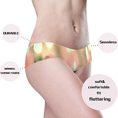 ZHOUSUN Women's Breathable Seamless Underwear,Romantic Valentine's Day Candle Clip Cheekini Panties Stretch Bikini Microfiber Low Rise Brief