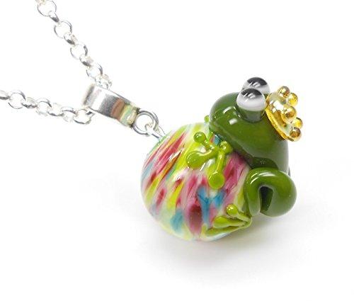 New York handgefertigter Anhänger aus Glas mit Frosch- Froschkönig, Kette Frosch