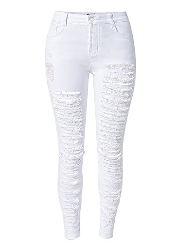 Olrain Womens Long Jeans Destroyed Ripped Hole Trousers Denim Pants 14 White
